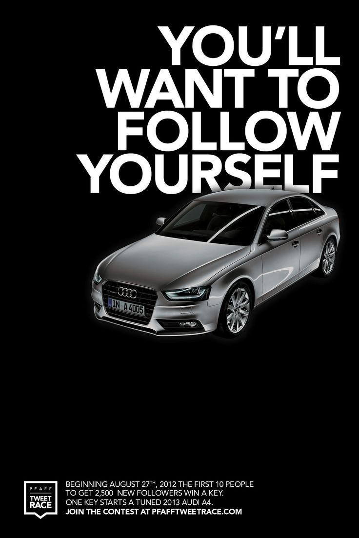 audi pfaff auto tweet race you 39 ll want to follow yourself ad print advertising ideas. Black Bedroom Furniture Sets. Home Design Ideas