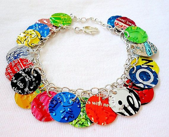 Recycled Soda Can Bracelet  Cha Cha Charms by beforethelandfill, $25.00