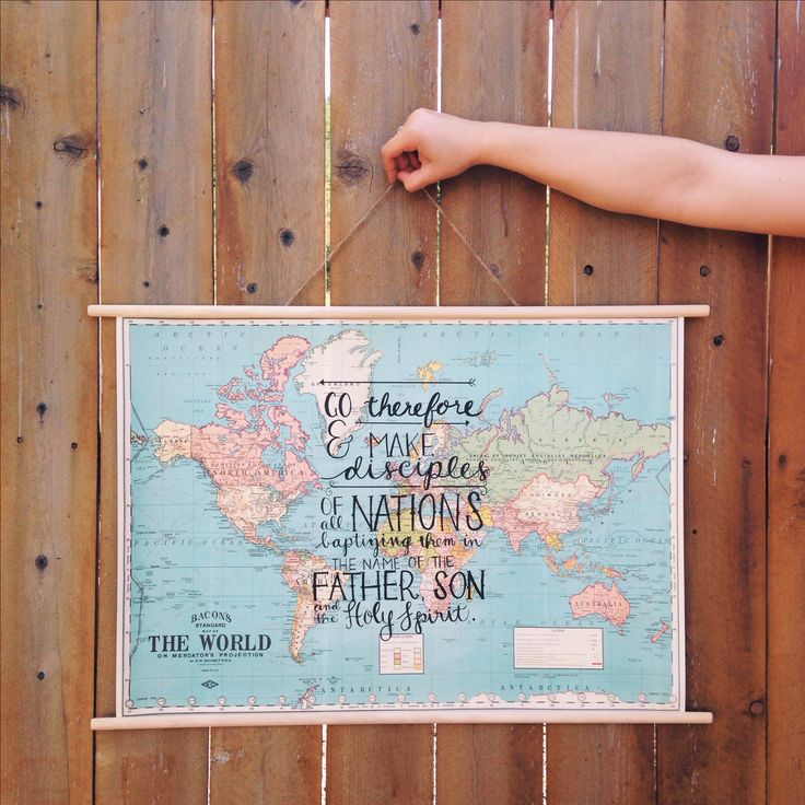 Matthew 28:19-20 // hand lettered on a map // Victoria Kesoma