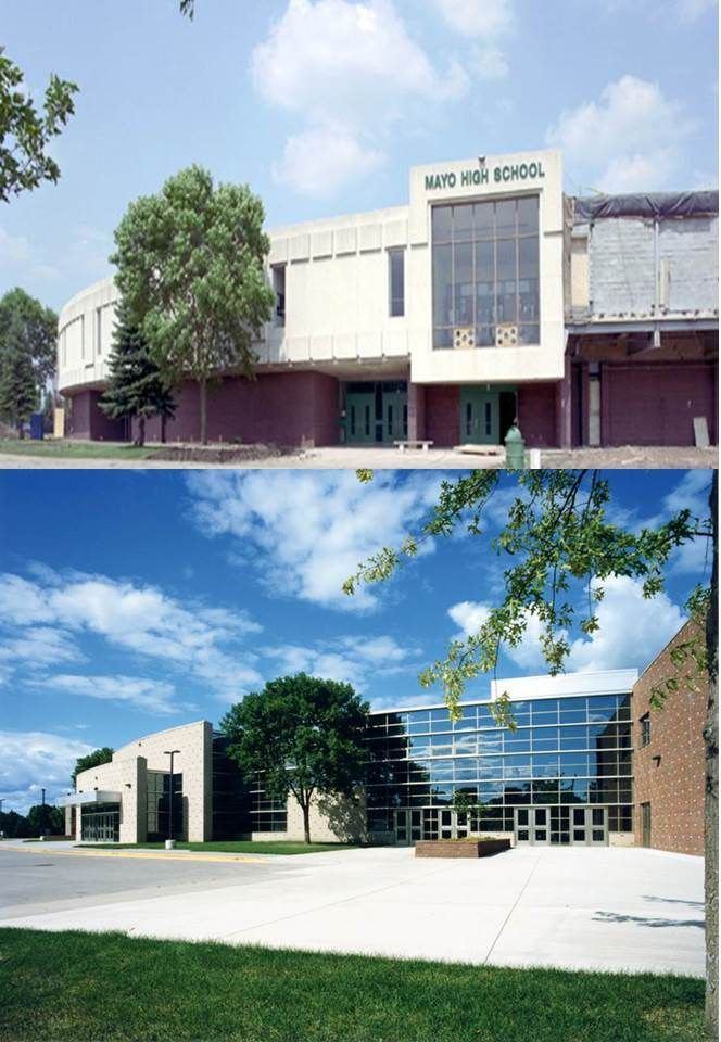 Mayo High School Exterior Before (top) and After (bottom)
