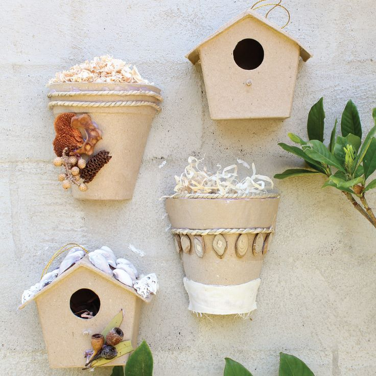 Papier Mache Bird Houses and Half Pots look great hanging on the wall.