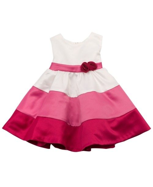 This is a women's infant girls' baby kids' fuschia polyester colored block new dress from Rare Editions, clothing of a distinctive style or for a particular occasion.