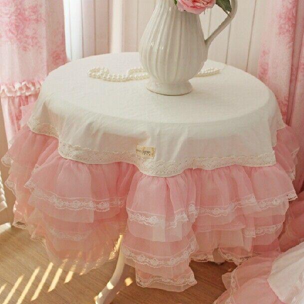 Новый романтический сладкий скатерть свадебного украшение скатерть принцесса круглый / площади покрытие стола 6 слоя кружева пряжи юбка