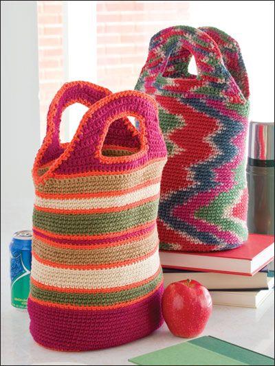 Crochet Lunch Bag : Crocheted Lunch Bags / Pattern Crochet Bags Pinterest