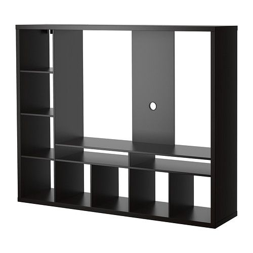 LAPPLAND TV storage unit, IKEA. The shelves can be placed to the left or right.  Potential for our homeschool classroom - use TV area for bulletin / white board.