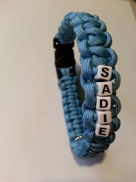 Steel Blue Paracord Dog Collar with Custom Name by TheUrbanLead
