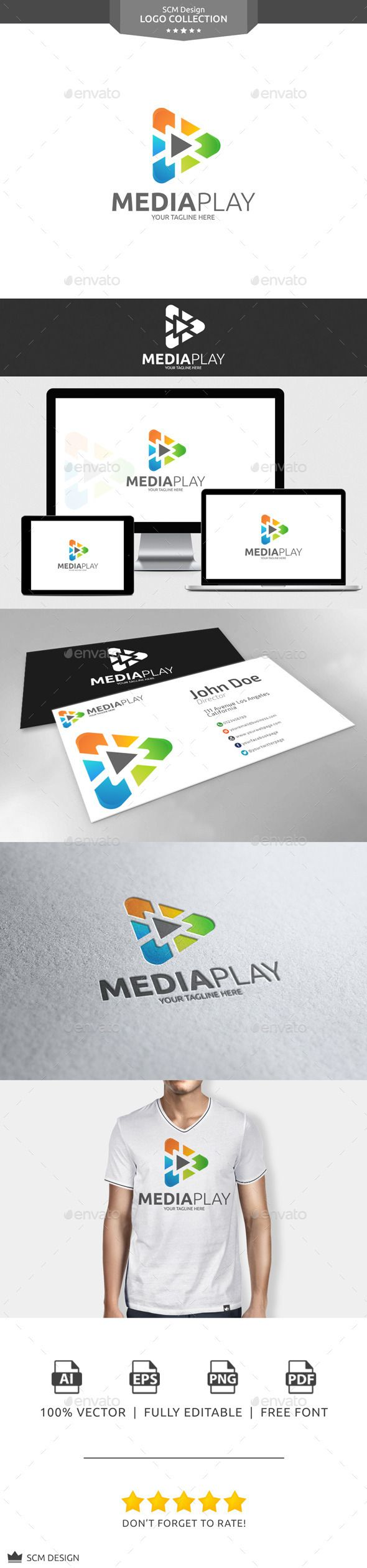 Media Play - Logo Design Template Vector #logotype Download it here: http://graphicriver.net/item/media-play-logo/10774817?s_rank=1165?ref=nexion