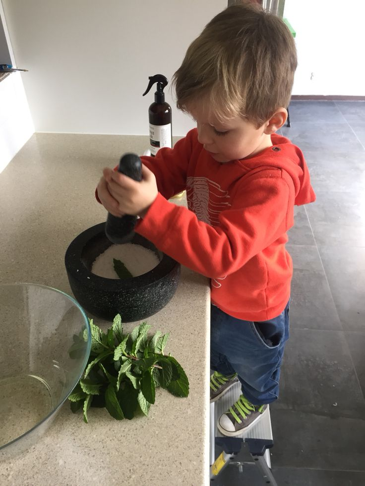 Grinding up rock salt and mint.  Involving more processes while making play dough