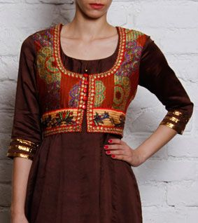Brown Handloom Chanderi Silk Kurta