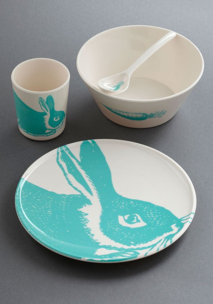 TO EAT (Hare to There Dish Set - White, Pastel, Blue, Print with Animals)