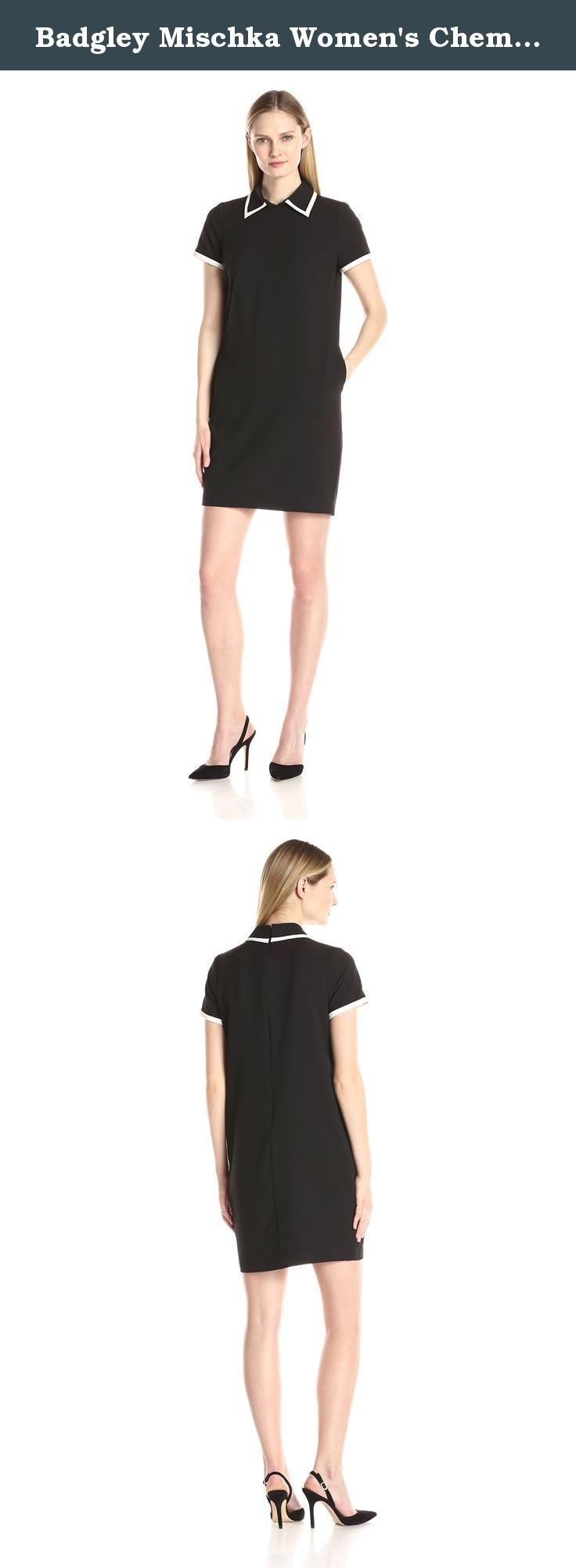 Badgley Mischka Women's Chemise with Contrast Lapel Trim, Black/Ivory, 2. Inspired by the 1920's this chic silhouette is timeless and versatile. The contrast trim creates a updated, modern style.