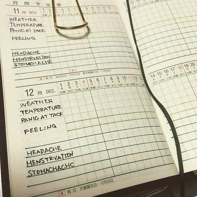 能率手帳の月間予定表。 体調関係をログ取りたいので、準備★ ひとまず2ヶ月分完了! #手帳 #能率手帳 #能率手帳小型版 #能率手帳小型版