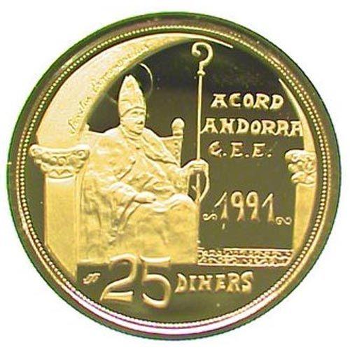Moneda de oro 25 Diners Andorra 1992 Acord CEE 1991