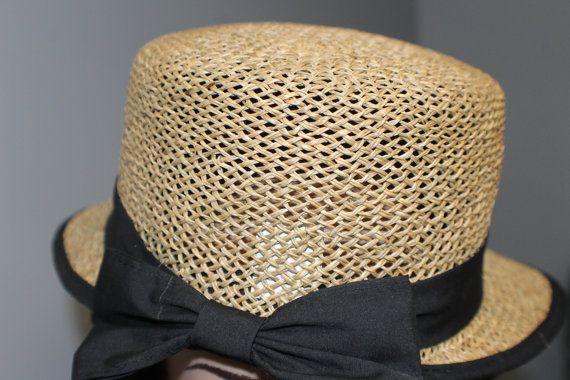 Vintage stro hoed brede rand Sunhat jaren door CollectibleCorner