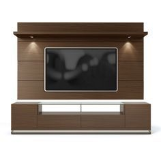 Vanderbilt TV Stand and Cabrini 2.2 Floating Wall TV Panel with LED Lights in Nut Brown