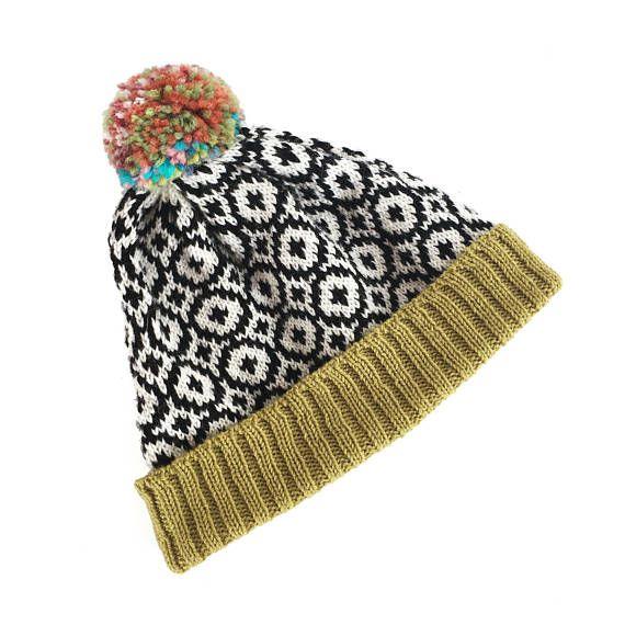 Men's knitted beanie, fair isle pattern beanie hat, pompom beanie