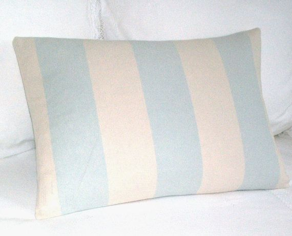 Duck Egg Stripe  Large Cushion / Throw Pillow Cover  by maisiev