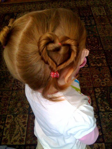 Valentines Day hairstyle for girls ~ cute!!