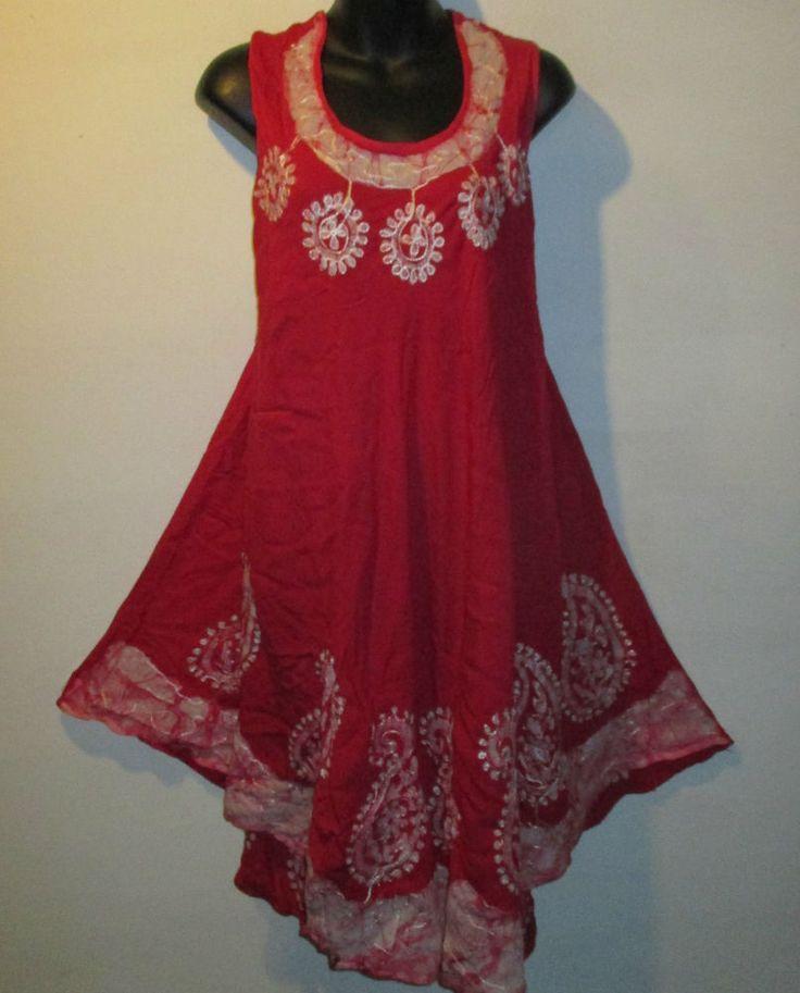 ... White Paisley Batik Mini Dress Sundress TK E #Bhoppi #Tunic #Casual