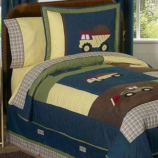 Sweet Jojo Designs Boy's 'Construction Zone' Twin 4-piece Comforter Set | Overstock.com Shopping - The Best Deals on Kids' Comforter Sets