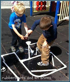 pvc pipes+connectors+water=physics #summer #homeschool #preschool water fun