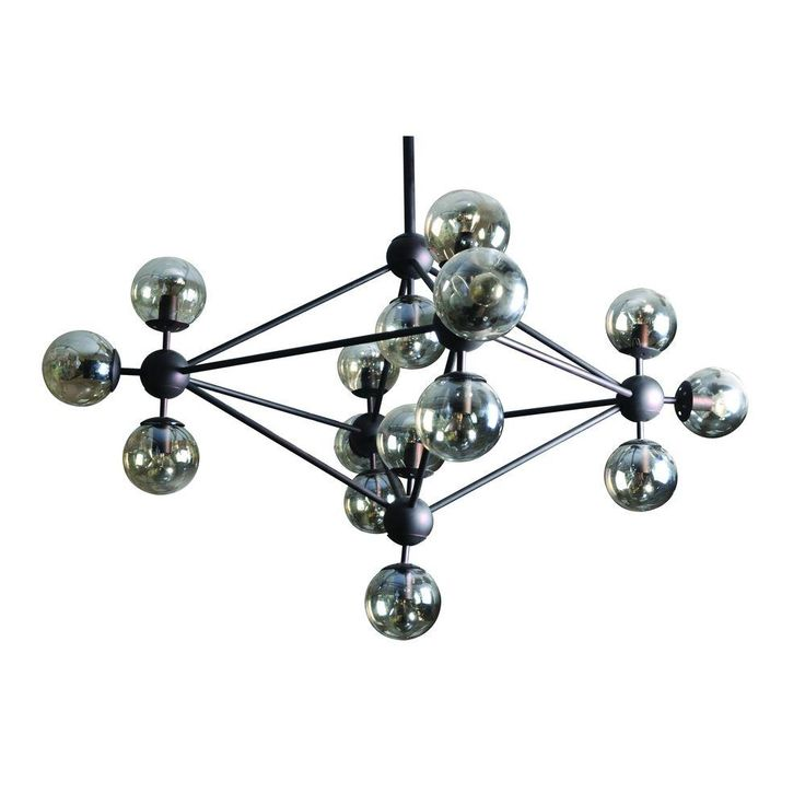 Yosemite Home Decor Rialto Collection 15-Light Antique Brown Chandelier with Amber Glass Orbs