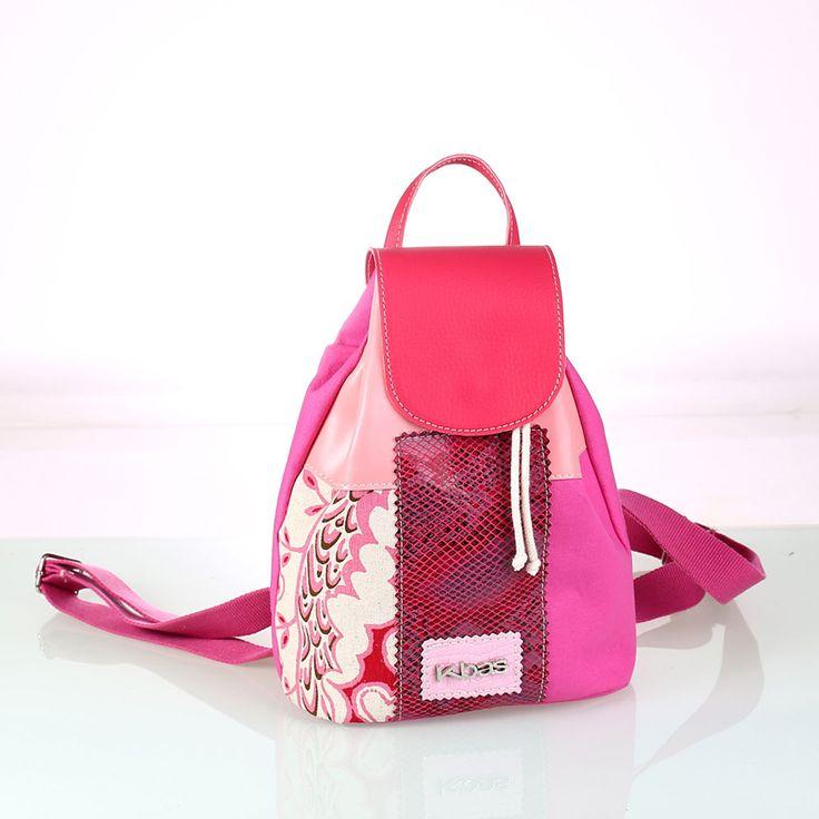 Dámsky patchwork ruksak Kbas z plátna a PVC ružový