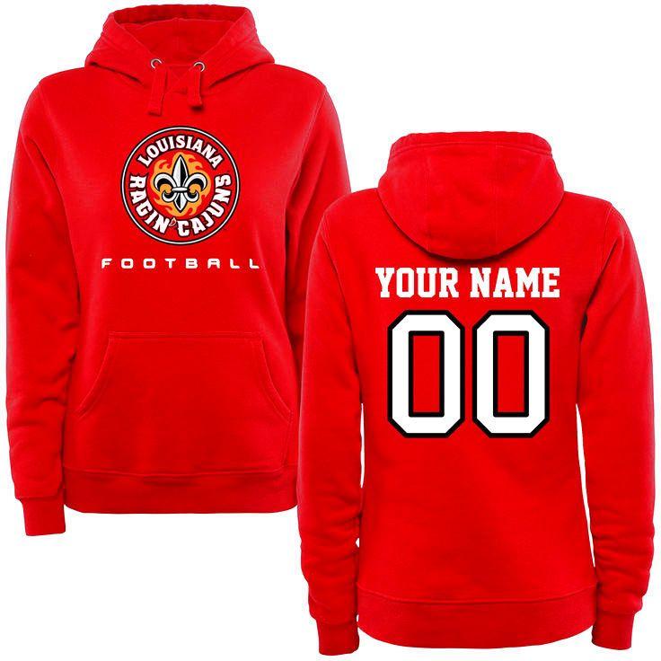Louisiana-Lafayette Ragin Cajuns Women's Personalized Football Pullover Hoodie - Red - $69.99