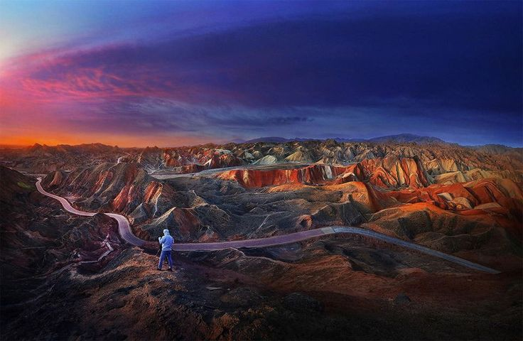 Sunrise Over Zhangye Danxia Geological Park By Weerapong Chaipuck