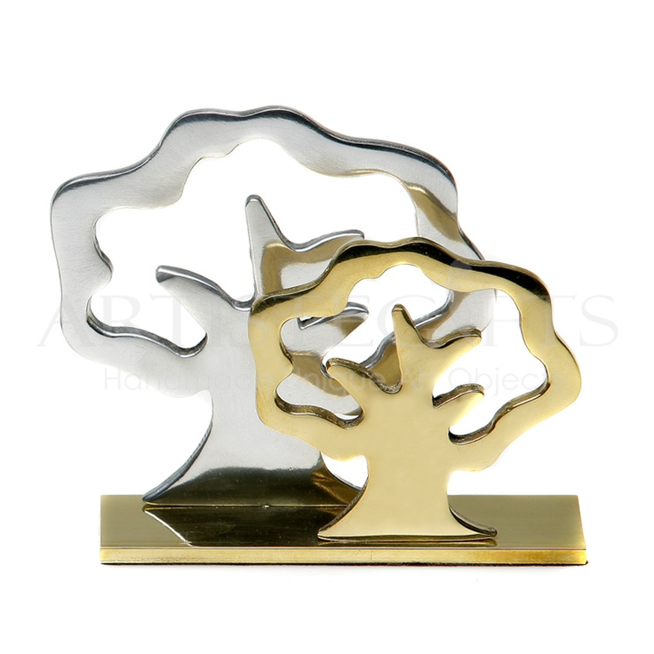 Handmade multipurpose item, It can be used as a desktop card holder, as envelop holder or as a paper napkins holder, materialized from recycled bronze and aluminium with shiny and smooth texture and decorated with the borders of two trees. You have the ability to personalize the base with your special message, name, date or company logo by laser engraving. See more details http://www.artistegifts.com/index.php?target=products_id=33408