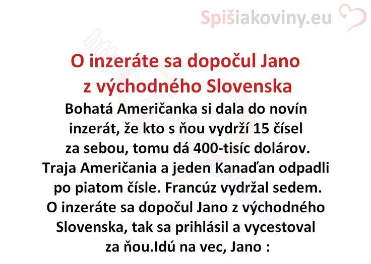 O inzeráte sa dopočul Jano z východného Slovenska - Spišiakoviny.eu
