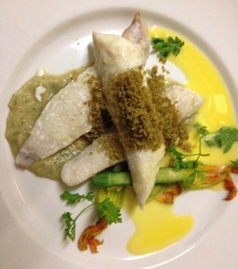Rocket flathead with zucchini flowers, organic verjuice, beurre blanc, fennel soubise and tarragon breadcrumbs