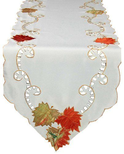 Xia Home Fashions Scrolling Leaf Embroidered Cutwork Harvest 15-Inch by 54-Inch Table Runner by Xia Home Fashions. $21.44. Machine Washable; Made with easy care poliviscose. Elegant harvest linens featuring applique leaves. Handrendered cutwork. Applique harvest leaves on an easy care poliviscose background give this collection an elegant and festive feel. The perfect accent for your holiday family gatherings.