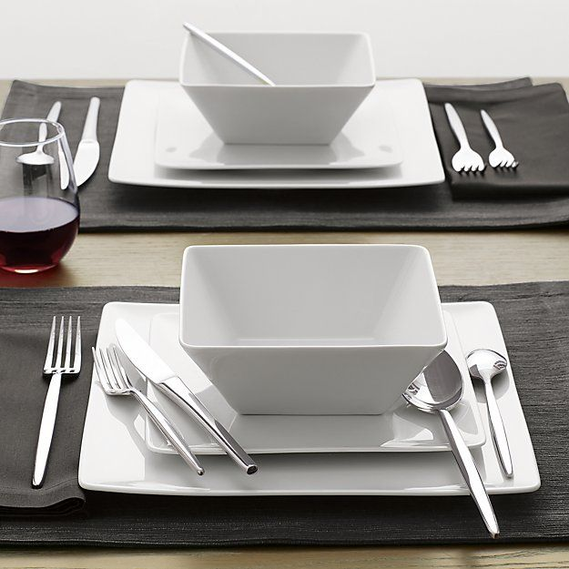 Set of 8 Cyd Dinner Plates | Crate and Barrel Love the square dishes, but need to find square chargers!