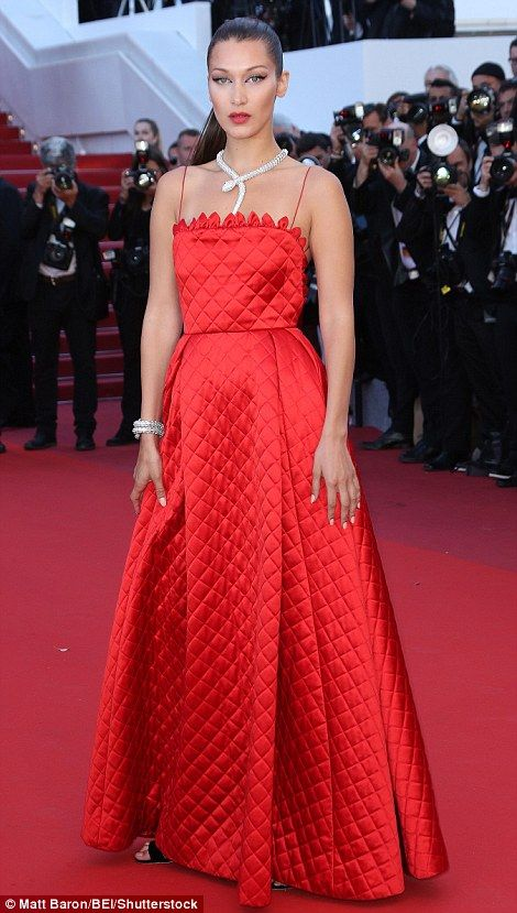 Red hot! Guests at the star-studded premiere of $50million movie Okja, including stunning model Bella Hadid and Rihanna (L-R) appeared to rise above the drama on Friday night as they stormed the red carpet at the famous Palais de Festivals