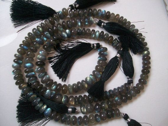 8 inch 10mm - 11mm LABRADORITE Rondelle Smooth plain beads with blue green sheen.....lots of gorgeous...