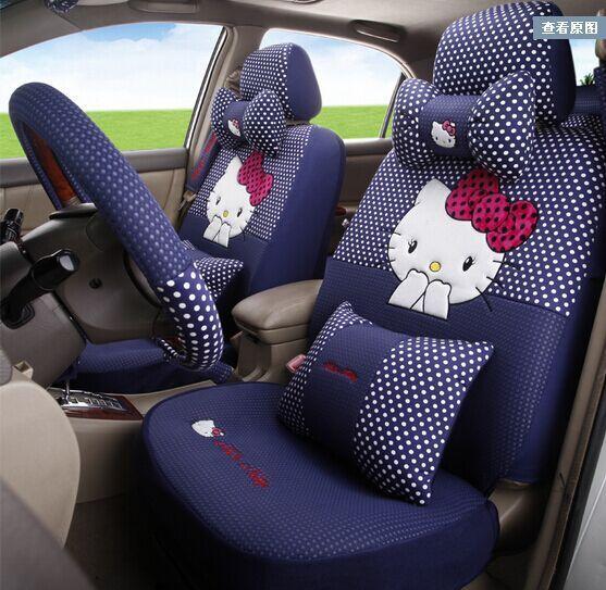 Lujo pink hello kitty asientos de coche cubre femenino de auto decoración para el verano delante detrás sillones puff cubren todo-en-uno la cabeza