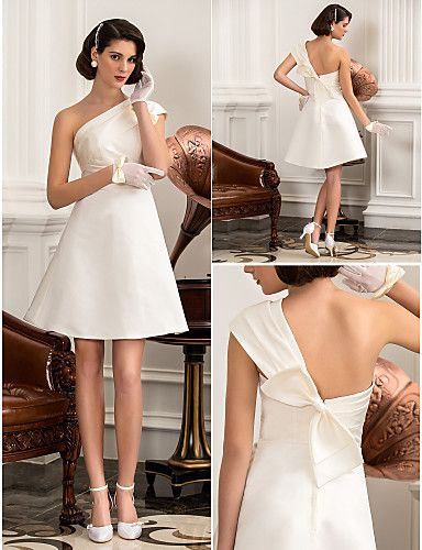 Wedding Dress A Line Knee Length Satin One Shoulder Little White With Bow - USD $ 99.99