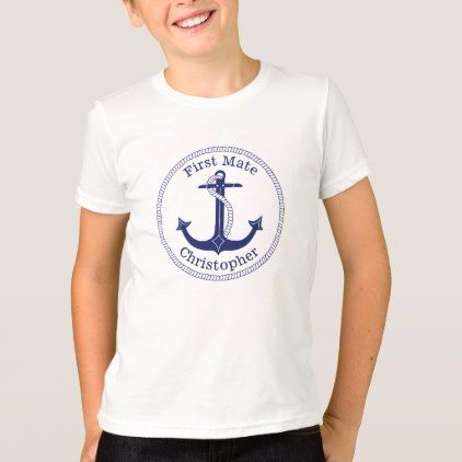 #personalize - #Nautical Anchor Navy Blue First Mate Personalized T-Shirt