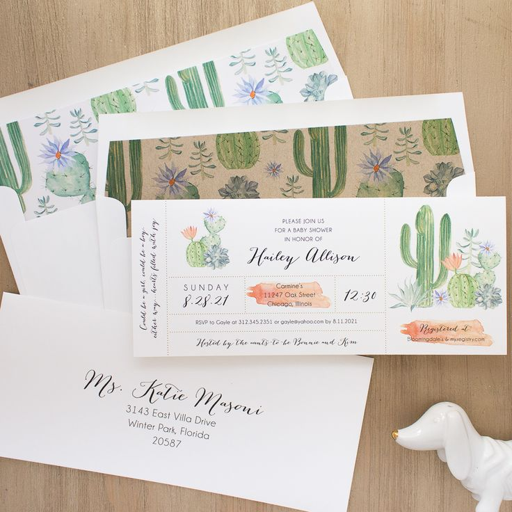 Small, cute and such a delight. Cactus Blooms baby shower invites with matching envelope liners and guest envelope printing.