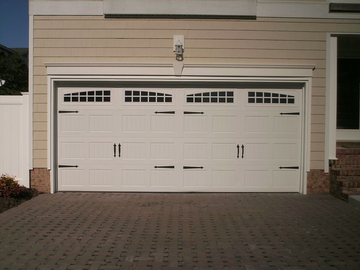 Ideas, Bright White Double Carriage Garage Doors On Brown Garage Design:  Interesting Carriage Garage