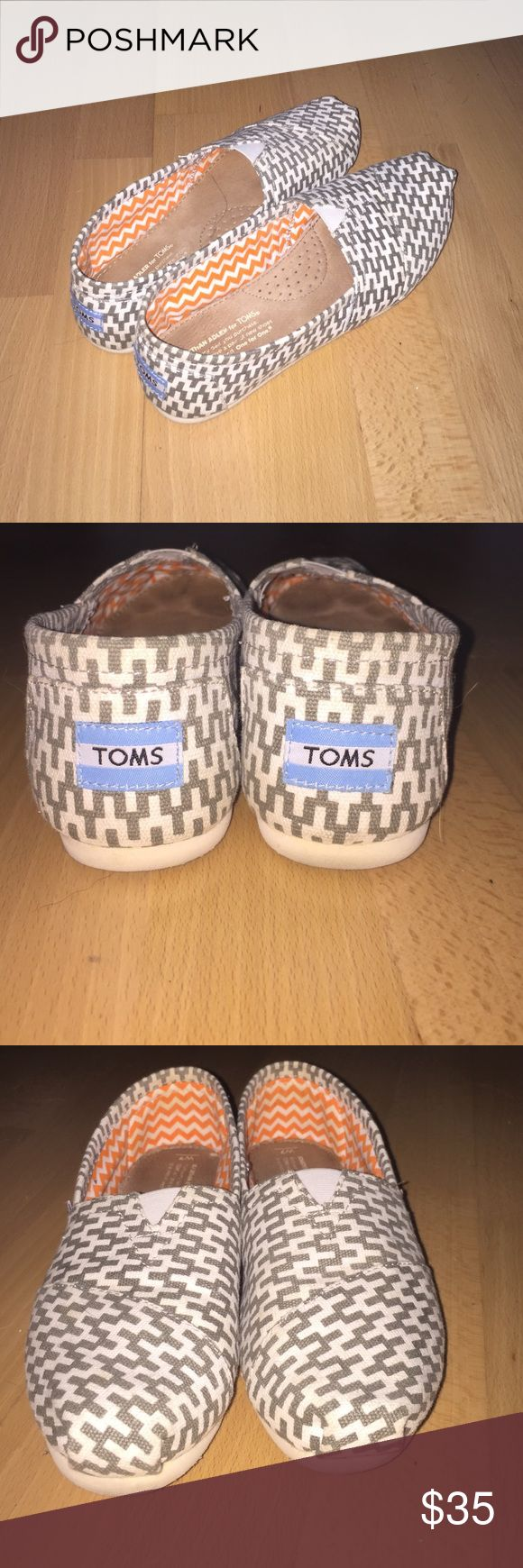 Chevron TOMs Chevron cream and grey TOMS size 7. Worn once, practically brand new condition with no flaws. TOMS Shoes