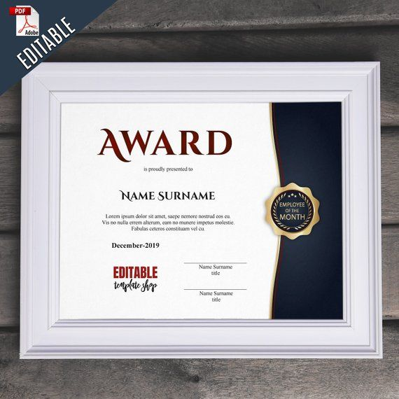 Employee Of The Month EDITABLE Award Template Editable