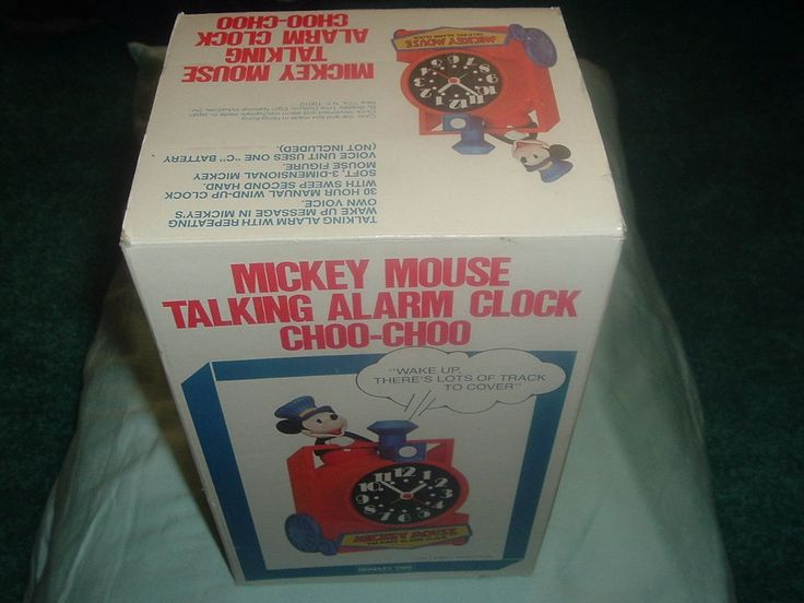 Disney's Mickey Mouse Train Conductor Collectible Talking Alarm Clock in Box.