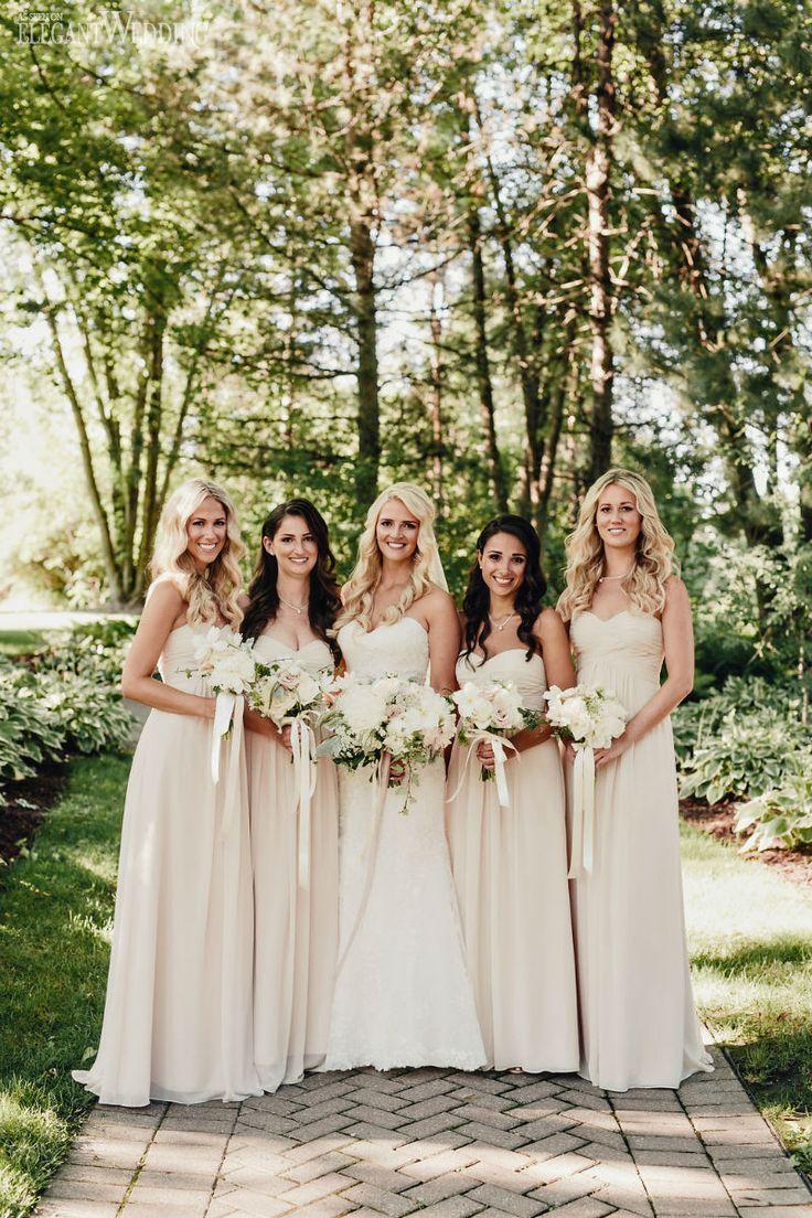 Ivory and cream bridesmaids dresses from Bill Levkoff! VINTAGE PINK & IVORY OUTDOOR WEDDING www.elegantwedding.ca