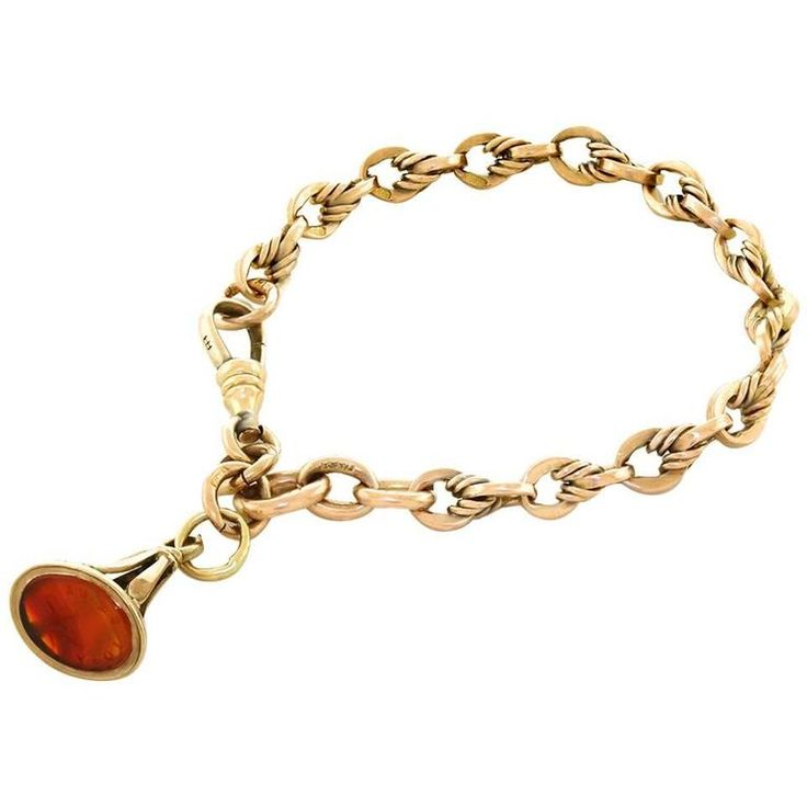 Antique Rose Gold Bracelet with Fob in Gold For Sale