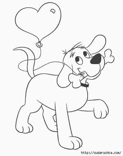 Valentines Bunny With Heart Balloon Coloring Pages