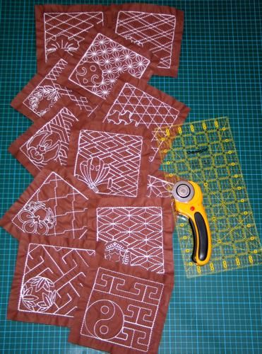 machine embroidery projects | Quilted Cover for a Small Sewing Machinewith Sashiko Embroidery
