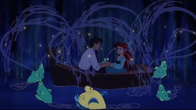 Relationships, sex hormones and sexual fantasies are what Freud sees as the three factors that generate sexual excitement. The image shows Disney princess Ariel and her prince charming. From Freud's theories, this image of a date on a lake can be perceived as an early development of sexual excitement for both young males and females.