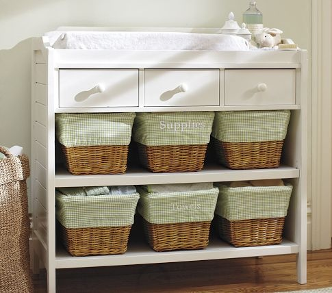 Open shelf with wicker baskets changing table & 8 best change table organization images on Pinterest | Nursery ...